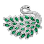 Green Spinel Enamel Swan Slide and Pin
